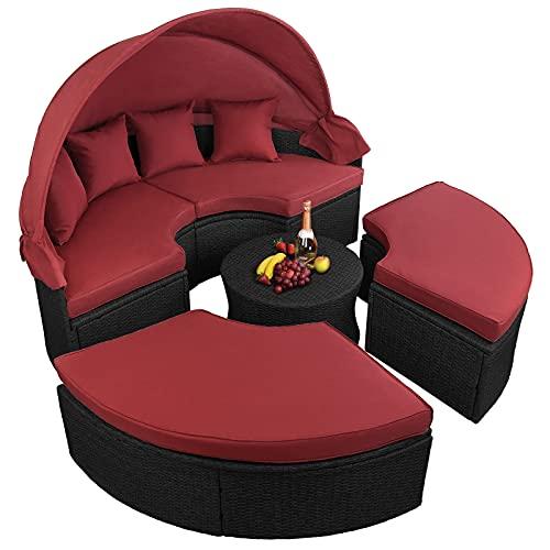 BB Sport 13-teilige Polyrattan Lounge Muschel Sonneninsel Sonnendach Klappbar Zierkissen Auflagen 10 cm Dicke, Farbe:Titan-Schwarz/Abendsonne