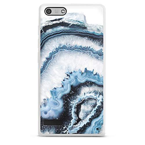 DeinDesign Silikon Hülle kompatibel mit Huawei Ascend P7 Mini Hülle weiß Handyhülle Edelstein Muster