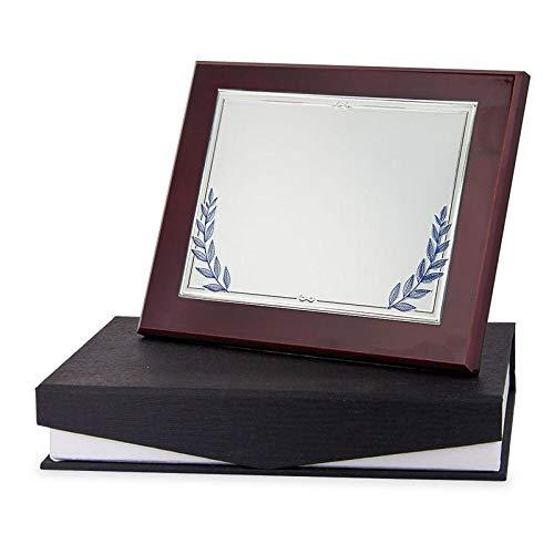 Trofeos Martínez - Placa Conmemorativa/Homenaje con Placa en Aluminio y decoración de Hojas de Laurel en Color Azul para grabación UV a Color. Incluye Estuche de Calidad. (24,5x19,5cm)