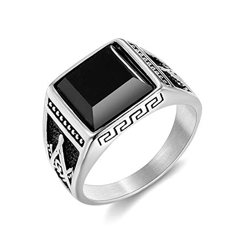 Classic vintage ring titanium steel color gold-plated black agate mutual men's ring