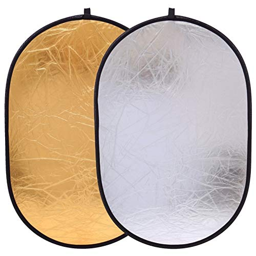 Lifeyz 90x120cm 2in1 Gold and Silver Photo Studio Reflector Handhold Multi Collapsible Portable Disc Light Reflector for Photography