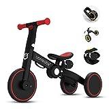 OLYSPM 4 en 1Bicicleta sin Pedales para Niños,Bicicleta para Niños Pequeños para Niños de 1.5 a 5 Años,sillín Ajustable,Lindo de Regalo Favorito del Niño(Rojo)