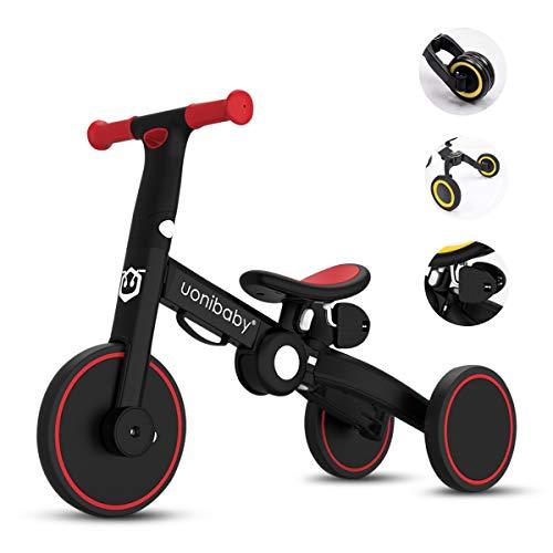 OLYSPM Balance Bike 4 in 1 per Bambini,Bicicletta Senza Pedali,Triciclo Senza Pedali,per 1.5-5 Anni Baby Boys Girls,Altezza del Sedile Regolabile (Rosso)