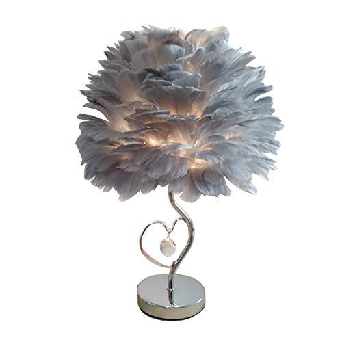 Lámparas de mesa de cristal moderno de pluma, lámpara de noche romántica moderna de dormitorio, color gris E27