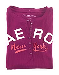 Aeropostale Womens Long Sleeve Henley Applique and embroidered logos 7 button placket, Long sleeves Thermal henley, ribbed design Juniors Sizing, slim fit, length approximately 25.5 inches