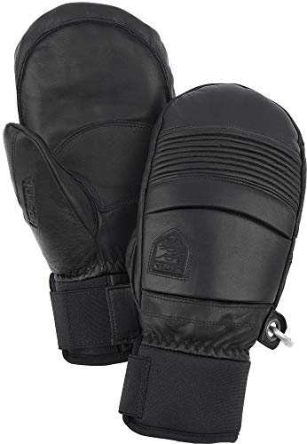 Hestra Leather Fall Line - Short Freeride Snow Mitten With Superior Grip For Skiing, Snowboarding And Mountaineering - Black - 9