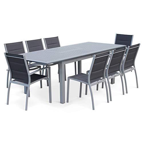 Salon de Jardin Table Extensible - Chicago Gris - Table en Aluminium 175/245cm avec rallonge et 8 assises en textilène