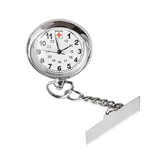 KoelrMsd Reloj de Bolsillo para Enfermeras de Cara Grande en una Barra con un Broche en la Parte Posterior Pantalla analógica de Color Plateado Función de Bisel Fijo