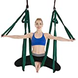 SJHQ Yoga Aéreo Yoga antigravedad aérea Hamaca Set multifunción Yoga Cinturón Flying Herramienta for la conformación del Cuerpo de Pilates con Bolsa de Transporte Hamaca (Color : 09 Dark Green)