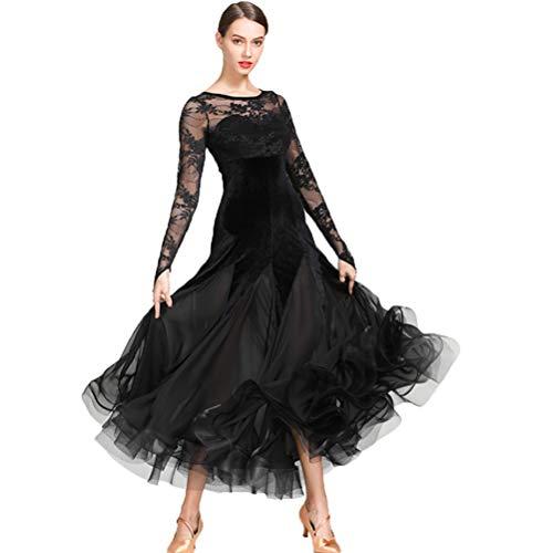 Frauen Ballsaal-Tanz-Kleid Samt Flamenco-Standardkleider Walzer Foxtrot Tanzkleid Wettbewerb Elegante Schnüren Kleider, S