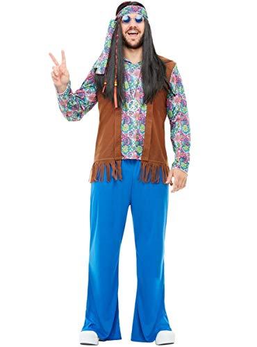 Funidelia   Disfraz de Hippie para Hombre Talla XXXL  Años 60, Hippie, Flower Power, Décadas - Multicolor
