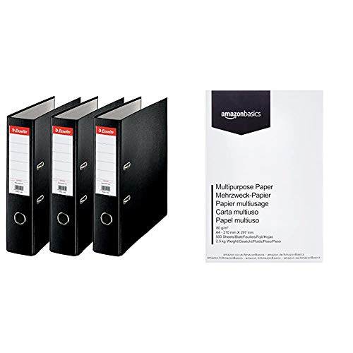Esselte 624294 - Archivador con anillas (Capacidad 550 hojas, 3 unidades), negro, 75 mm + AmazonBasics Papel multiusos para...