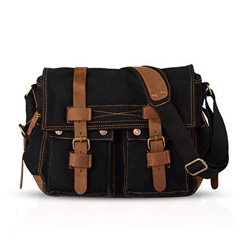 FANDARE Unisex Umhängetasche/Laptoptasche 14 Zoll für Arbeit Herren Messenger Bag Schultertasche Multifunktions Reise Canvas Schwarz