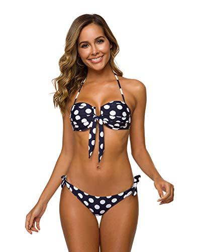 annafiiore - Italienische Designer Bademode, Sommer 2019 Bandeau Bikini/Neckholder Bikini, Punkte, Damen Bikini Set, Zweiteilig, Blau Weiss [L]