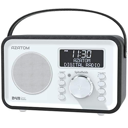 Spitalfields Retro DAB DAB+ Digital FM Portable Radio Alarm Clock Leather Effect Finish Mains Powered Rechargable Battery Subwoofer Premium Stereo Sound (Black)