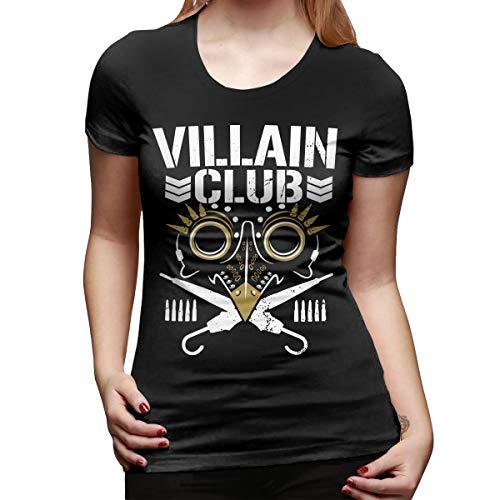 WoodWorths Villain-Club Women Short Sleeve T Shirt Tees Sport Summer(Small,Black)