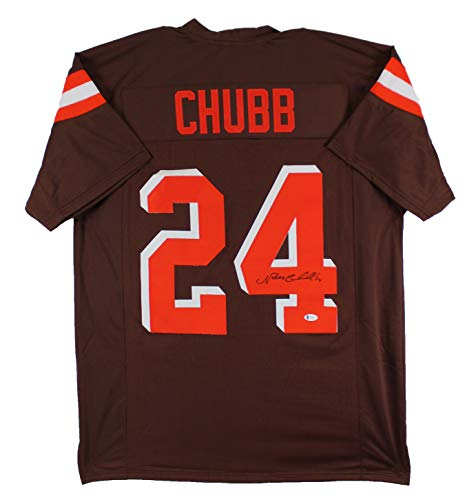 Nick Chubb Authentic Signed Brown Pro Style Jersey Autographed BAS Witnessed