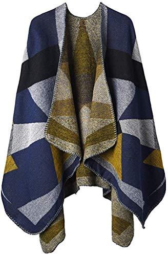 RENFEIYUAN Frauen-Winter Poncho Maxi-Warme Decke Cape Wraps Schal Cardigans weihnachtsmann mütze (Color : Color E Blue)