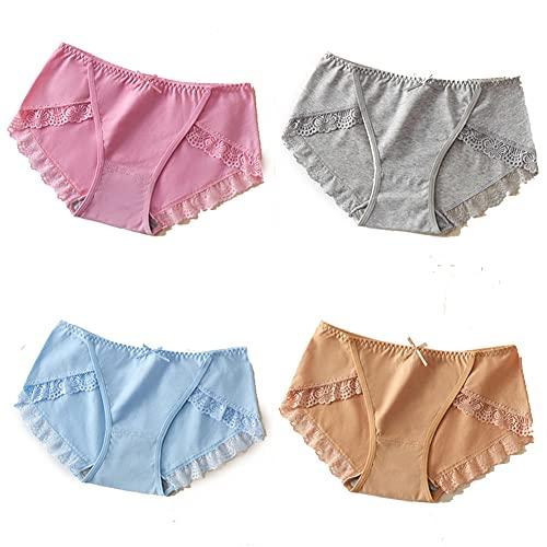 NEIYIpl Calzoncillos de Cintura Media de algodón Menos Ropa Interior de Mujer Calzoncillos de Estudiante de Entrepierna de algodón de Encaje para Mujer