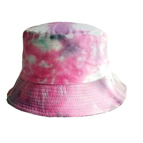 FORLADY Unisex Sombrero del Pescador Algodón Tie-Dye Bucket Hat Reversible Plegable (Gris y Rosa)