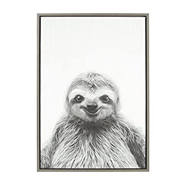 Kate and Laurel Sylvie Animal Print Sloth Black and White Portrait Framed Canvas Wall Art by Simon Te Tai, Gray 23x33