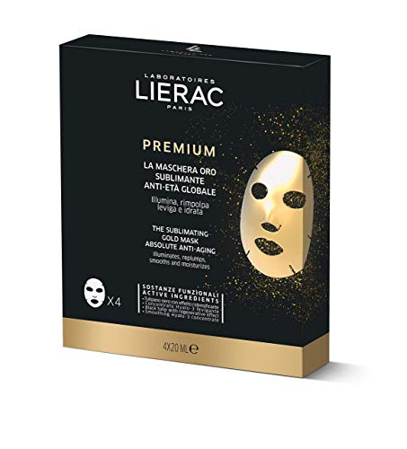 Lierac Premium Maschera Oro Sublimante anti Età per il Viso con Acido Ialuronico, per Tutti i Tipi di Pelle, Formato Multipack 4 x 20 ml