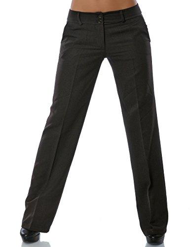 Damen Business Hose Straight Leg Gerades Bein Stoffhose DA 13572 Farbe Braun Größe XS / 34