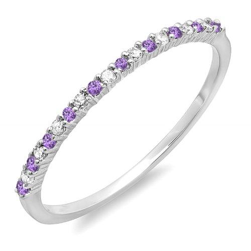 Dazzlingrock Collection 14K Round Amethyst & White Diamond Ladies Anniversary Wedding Band Ring, White Gold, Size 7