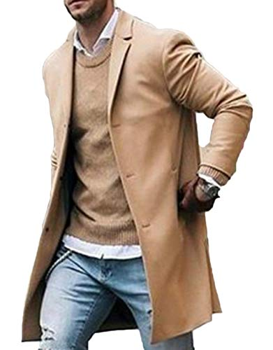 Canrulo Men Trench Coat Wool Slim Fit Notched Collar Overcoat Single Breasted Long Pea Coat Jacket (L, Khaki)