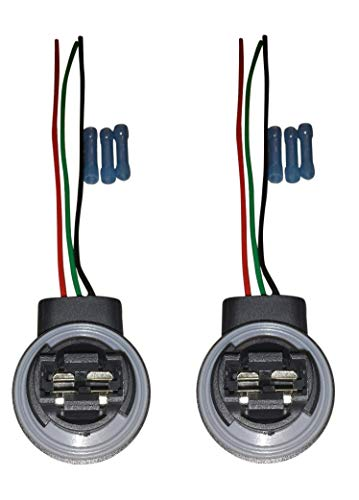(SET OF TWO) Muzzys 3157/4157 Wire Harness Pigtail Socket for LED and Standard Bulbs Turn Signal, Brake Light, DRL, Daytime Running Lights, Backup, Reverse Lights