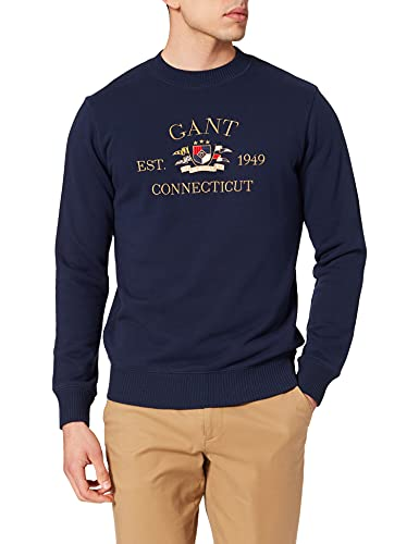 GANT D1. Flag Crest C-Neck Sweat Sudadera, Azul clásico, L para Hombre
