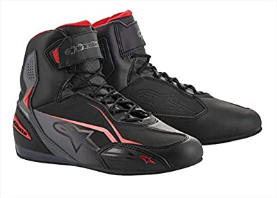 Alpinestars Men's Faster-3 Motorcycle Shoes, Black/Gray/Red, 11