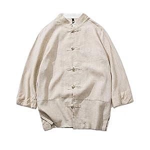 PIITE シャツ ゆったり メンズ ワイシャツ 中袖 カーディガン 綿麻Tシャツ カジュアル おしゃれ 七分袖 刺繍 開襟シャツ ブラウス トップス アウター カットソー 通勤通学ベージュ8