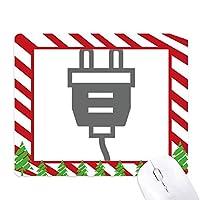 ブラック・ケーブル・プラグソケット充電パターン ゴムクリスマスキャンディマウスパッド