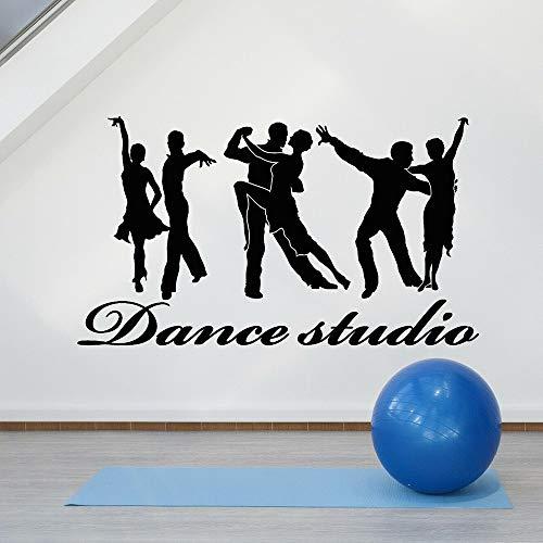 Blrpbc Adhesivos Pared Pegatinas de Pared Estudio de Baile de salón de Baile de pasión de Pareja de Vinilo de Baile dúo para Accesorios de decoración de salón de Baile 100x57cm