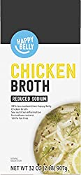 Amazon brand - Happy Belly Reduced Sodium Chicken Broth, 32 Ounce