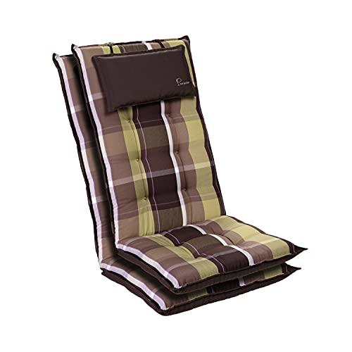 Homeoutfit24 Sylt - Cojín Acolchado para sillas de jardín, Hecho en Europa, Respaldo Alto con cojín de Cabeza extraíble, Resistente Rayos UV, Poliéster, 120 x 50 x 9 cm, 2 Unidades, Marrón/Verde