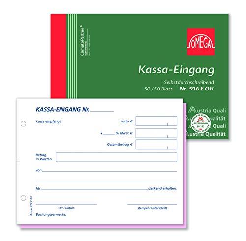 Omega Kassaeingangsbuch 916E OK, selbstdurchschreibend, A6 quer, 2 x 50 Blatt, weiß/rosa