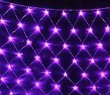 E-db LED Lichternetz 1.5M x 1.5M 96 LED Lichterkette Nachtlicht/Weihnachtsdekorationlichter/Weihnachten Hochzeit Vorhang Lichterkette Seile/Garten/Hotel/Festival/Dekoration Stimmungs (Lila)
