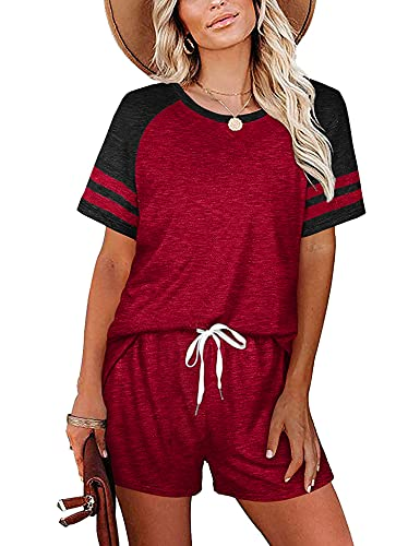 Womens Pajamas Set 2 Piece Loungewear Sweatsuits Sweatpants Summer Outfits for Women Lounge Sets Shorts Wine Red