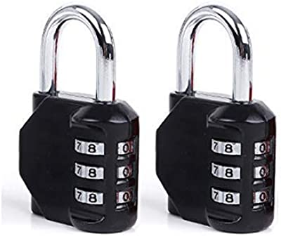 DonJon Padlock,2 Pack Combination Lock 3 Digit Padlock for Gym,Outdoor&School Locker,Fence,Hasp and Storage(Black)