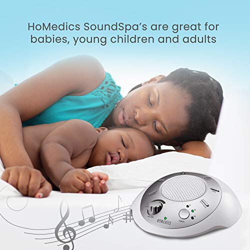 White Noise Sound Machine   Portable Sleep Therapy for Home, Office, Baby & Travel   6 Relaxing & Soothing Nature Sounds, Battery or Adapter Charging Options, Auto-Off Timer   HoMedics Sound Spa