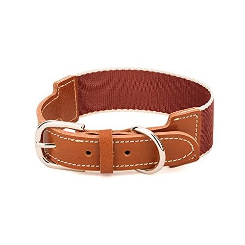 ZZCR Collar De Perro Mascota Collar Suave De Cuero Salir A Pasear Al Perro Collar Ajustable Collar De Perro Pequeño Y Mediano Collar con Hebilla Marrón M