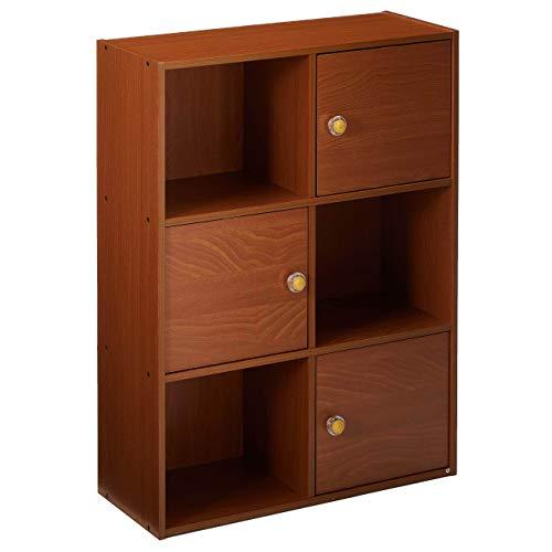 Furinno Pasir Bücherregal mit 3 Türen und rundem Griff, holz, Helle Kirsche, 23.88 x 59.94 x 80 cm