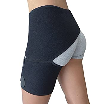 Hip Brace - Thigh Hamstring Sciatica Pain Relief Brace - Compression Support Wrap for Hip Flexor Strain Groin Pull SI Joint Arthritis Bursitis Sciatic Nerve for Men Women  Black