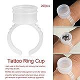 Anillos de la taza de tinta del tatuaje, 100/200/500 unids profesional desechable de la ceja del arte del clavo anillos pigmento titular de la herramienta de contenedor de gran tamaño(WHITE 200PCS)