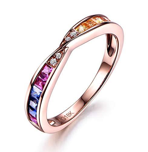 KnSam Anello Oro 18 Carati con Zaffiro Multicolore Taglio Princess da 0,61 Ct con Diamante Dimensione 16