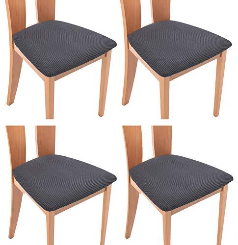 TIANSHU Funda Asiento Silla,Fundas elásticas para Asientos de sillas de Comedor y Oficina Jacquard Poliéster Elástica Fundas sillas Duradera(Paquete de 4,Gris)
