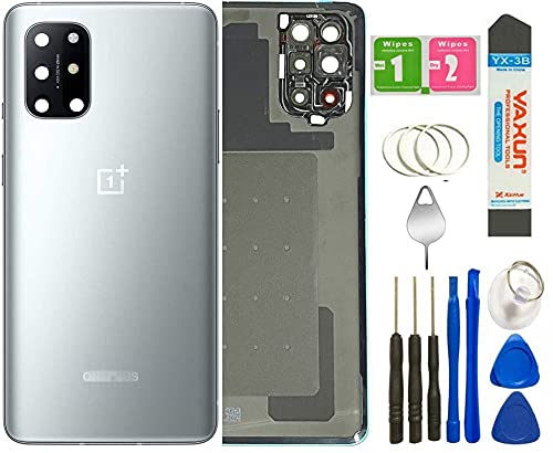One Plus 8T Back Cover Glass Replacement with Camera Glass Lens Housing Assembly Parts for OnePlus 8T 5G KB2000 KB2005 + Tools (Lunar Silver)