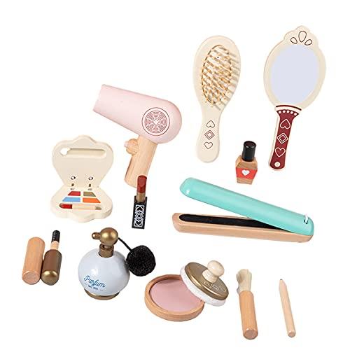 lahomia 12 Unids/Set Kit de Maquillaje de Madera para Niños Juego Juguetes para Niños Cepillo Sombras de Ojos Perfume